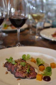 Red-wine marinated venison, chestnut puree, pumpkin and cocoa brioche ...
