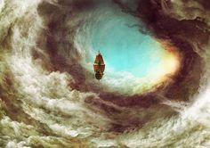 Jean-Sébastien Rossbach Ship in the Clouds, 2013 Fantasy World, Fantasy Art, Art Steampunk, Flying Ship, Flying Boat, Art Disney, Treasure Planet, Fantasy Landscape, Cool Art