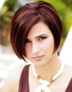 Beautiful bob hairstyle with fringe and highlights