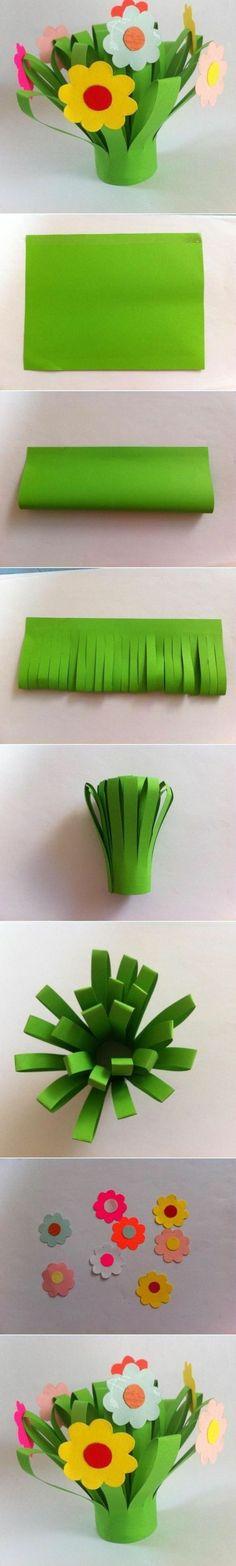 tuto comment fabriquer un bouquet de fleur artificiel, tiges en papier et fleurs multicolores, activite manuelle pour maternelle
