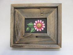 Rustic Barn Wood Framed Pink or Purple Flower by barbsheartstrokes