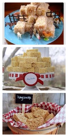 Farm themed treats, hay bales. Can make with rice crispy treats or coconut and Carmel covered brownies.