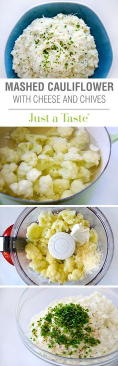 Mashed Cauliflower with Cheese and Chives #recipe on justataste.com