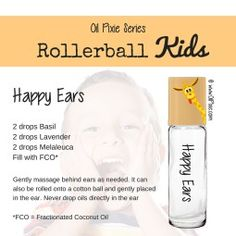 Ears, Rollerball blends for kids, essential oils