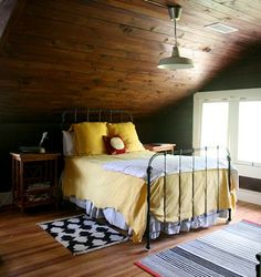 Attic bedroom. Great bed