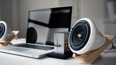 ceramic speakers with computer by Joey Roth