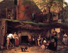 """""""Negro Life in the South (also known as Old Kentucky Home, Life in the South) Eastman Johnson 1859 Painting - oil on canvas Height: 91.44 cm (36 in.), Width: 114.94 cm (45.25 in.) New York Historical Society (United States)   Image via the Athenaeum"""""""