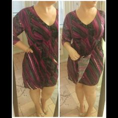 Date Night Dress Pretty pink and purple colors. Flattering cut. Excellent condition, only worn out twice. AGB Dresses