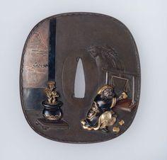 Tsuba with design of Daikoku using weights and a balance. Japanese Edo period–Meiji era mid to late 19th century - Hirayama Yoshinaga, Mito School http://www.mfa.org/collections/object/tsuba-with-design-of-daikoku-using-weights-and-a-balance-11684