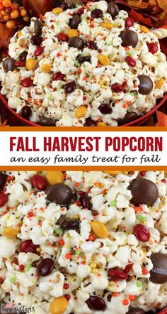 Fall Harvest Popcorn - an easy family treat for Fall! Sweet and salty popcorn, covered with marshmallows and beautiful Harvest Blend M&M's - so delici. Snack Mix Recipes, Candy Recipes, Appetizer Recipes, Cooking Recipes, Snack Mixes, Sweet Popcorn Recipes, Fall Appetizers, Cooking Tips, Thanksgiving Recipes