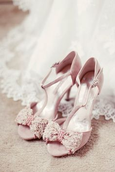pink bow shoes - Read more on One Fab Day: http://onefabday.com/a-beautiful-barn-wedding-by-rebecca-wedding-photography/
