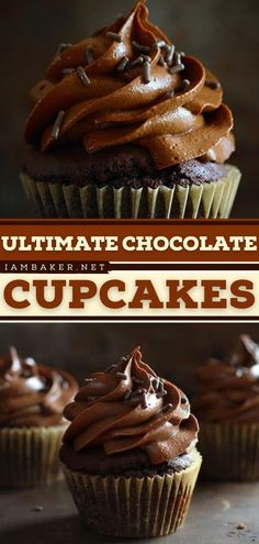 Looking for the best chocolate dessert? Try these Ultimate Chocolate Cupcakes with Chocolate Cream Cheese frosting! These easy-to-make sweet treats light and moist crumbs with the right amount of chocolate. Pin this!