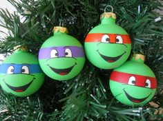 awesome pics: Ninja Turtles painted ornament set. So freakin awesome!!!!!