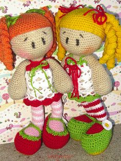 Two crocheted girls united