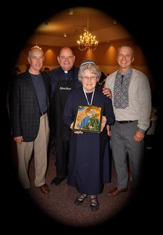 Sept. 25, 2016 At the St. John Byzantine Catholic Church Parish Feast Day celebration. Icon of St. Joseph of Arimathea was presented to George Darte as a gift from the parishioners of St. John's. L to R, George Darte, Father Anton, Sister from Mount Mary's in Ancaster, and Bob Oleksiw (MC for the evening) photo: Bohdan Thor  of Fr. Shashkevich council of the K of C Mount Mary, Joseph Of Arimathea, Byzantine Icons, St Joseph, The St, St John's, Anton, Thor, Catholic