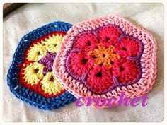 African Flower Motif☆アフリカンフラワーのモチーフ☆かぎ針編み☆crochet☆ 鉤針入門 ☆ - YouTube