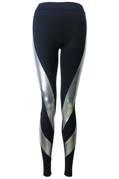 Spiral PU Silver-black Leggings