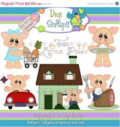 This Little Piggy - Pig Clipart set... you will recieve 300dpi png files  Design by - Kristi W Designs      HANDMADE items are always allowed and