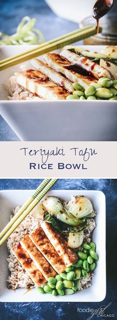 If you are looking for a great healthy dish for a tasty weeknight meal, look no further than this Crispy Tofu Rice Bowl topped with bok choy and edamame then drizzled with a thick teriyaki glaze! via @foodiegirlchica