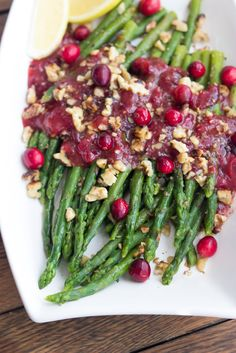 Asparagus with Cranberry Honey Vinaigrette // healthy, easy, beautiful