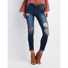 Refuge Skin Tight Legging Destroyed Jeans ($23) ❤ liked on Polyvore featuring jeans, dark wash deni, destroyed jeans, ripped denim jeans, ripped skinny jeans, low rise jeans and distressed skinny jeans