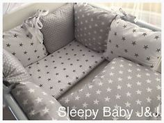 grey star crib bedding | Sleepy-Baby-J-J-Grey-and-white-stars-bedding-set-Cot-Cot-Bed                                                                                                                                                                                 More