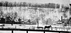 Snowy view of Harmar Hill and the Douglas Putnam House. Date unknown. Probably about 1880. #Ohio #history #winter #Marietta #snow