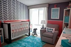 Modern Baby Room Ideas for Girls for Mom To Be : Modern Baby Room Ideas For Girls With Blue Wool Carpet Brown Single Sofa Stripped Wall Paper White Transparent Curtain