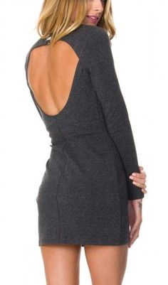 Grey dress with an open back.
