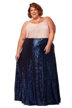 8ffc0fef3 The Showstopper Sequin Maxi Skirt - Dark Blue Sequin Maxi, Plus Size Maxi,  Vintage