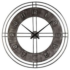 Ana Sofia - Antique Gray - Wall Clock by Signature Design by Ashley. Get your Ana Sofia - Antique Gray - Wall Clock at JB's Furniture, Milwaukee WI furniture store. Grey Wall Clocks, Sleigh Bedroom Set, Farmhouse Wall Clocks, Farmhouse Furniture, How To Make Wall Clock, Metal Clock, Signature Design, At Home Store, Grey Walls