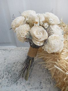 Elegant Country Bridal Bouquet, handmade of Sola Flowers & Wheat . Made to Order. by PapernLace on Etsy https://www.etsy.com/listing/202690747/elegant-country-bridal-bouquet-handmade
