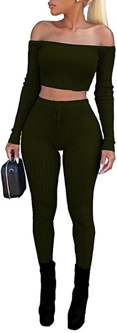 64ed8712ca6 Amazon.com  Vamvie Women s Sexy 2 Pieces Off Shoulder Long Sleeve Crop  Top+Long Pant Bodycon Jumpsuit Skinny Romper Army Green M  Clothing
