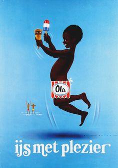 Ola Ice Cream - Dutch ad: ijs met plezier (ice cream with fun) by Nan Lavies (1978)