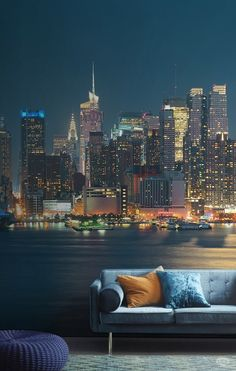 Get this gorgeous cityscape in your home. This city wallpaper is rich in detail and makes a sumptuous living space.