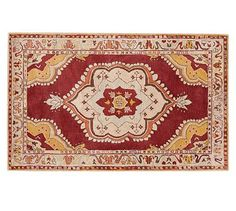 Florence Persian Rug Red Multi Potterybarn Leather Sofa Decor Kitchen Dining