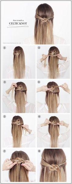 DIY Celtic Knot hair diy hair ideas hairstyles hair knot hair pictures hair tutorials hair designs - www. Braided Hairstyles Tutorials, Diy Hairstyles, Wedding Hairstyles, Easy Hairstyle, Style Hairstyle, Braid Hair Tutorials, Summer Hair Tutorials, Diy Braids, Beauty Tutorials