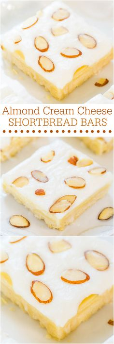 Almond Cream Cheese Shortbread Bars - Easy, buttery shortbread is topped with cream cheese. Plus irresistible almond frosting! Lighter-tasting and perfect for summer events! Just Desserts, Delicious Desserts, Yummy Treats, Sweet Treats, Yummy Snacks, Cookie Recipes, Dessert Recipes, Bar Recipes, Almond Recipes