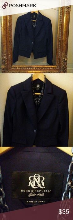 """Rock & Republic """"Tailor Made"""" Blazer Practically New Size 2 Very Small shoulder padding Thick Stiching 100% Polyester Lining Hidden Inside Pocket Rock & Republic Jackets & Coats Blazers"""
