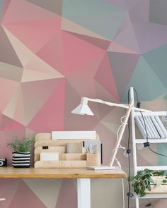 Bring subtle tones to your home office with this beautiful geometric wallpaper from Wallsauce. Featuring an array of delicate pinks purples and blues, this stunning geometric wallpaper is sure to help you create your accent wall! Discover this and more ge Purple Wallpaper, Geometric Wallpaper, Room Wallpaper, Office Wallpaper, Guernica, Graffiti, Accent Wall Bedroom, Room Paint, Wall Design