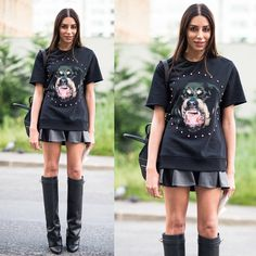 #stealherstyle #looks #streetstyle #streetchic #moda #fashion #style #estilo #inspiration #inspired #animalface #couro #Leather #bota #saia #tshirt #preto #givenchy