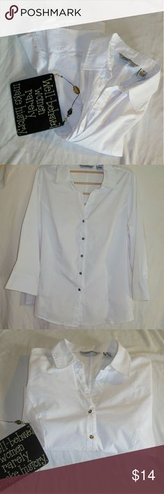 Button Down Dress Shirt by Larry Levine Size 3X Offered up here is a like new, stark white, button-down dress shirt made by Larry Levine in a size 3x. There's not much else to say about these white dress shirts folks except that Larry Levine's clothing is true to size. Please note that any objects photographed with this shirt are not Included. Larry Levine Tops Button Down Shirts
