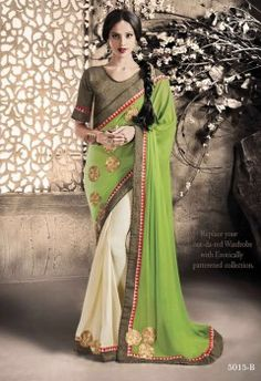 Girlish Green And Cream Embroidery Work Party Wear Saree
