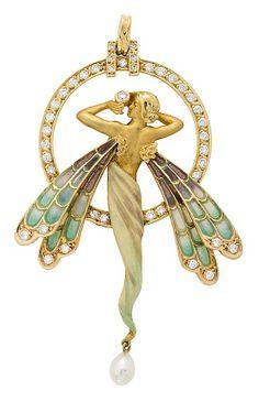 """Colgante en forma de libélula de estilo modernista En oro, esmalte """"plique-à-jour"""", diamantes talla brillante, 1,43 cts y perla cultivada aperada"""