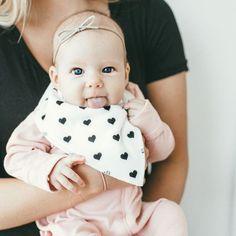 Little sweetie wearing our Hearts Bandana Bib   Copper Pearl