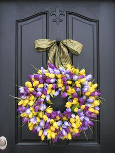 Purple Tulips Wreath Tulips Front Door Wreath by twoinspireyou, $95.00