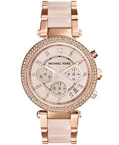 Michael Kors Women's Chronograph Parker Blush and Rose Gold-Tone Stainless Steel Bracelet Watch 33mm MK5896 - Watches - Jewelry & Watches - Macy's