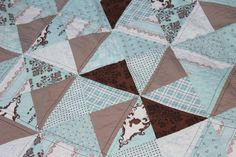 Patchwork Baby Quilt Minky Backed in shades by SweetDreamsbySarah, $65.00