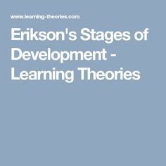 Erikson's Stages of Development - Learning Theories