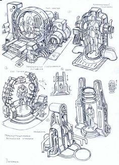 ::scanner or teleporter?:: env obj 82 by TugoDoomER on DeviantArt Robot Concept Art, Game Concept Art, Weapon Concept Art, Environment Concept Art, Art Sketches, Art Drawings, Mode Cyberpunk, Character Art, Character Design